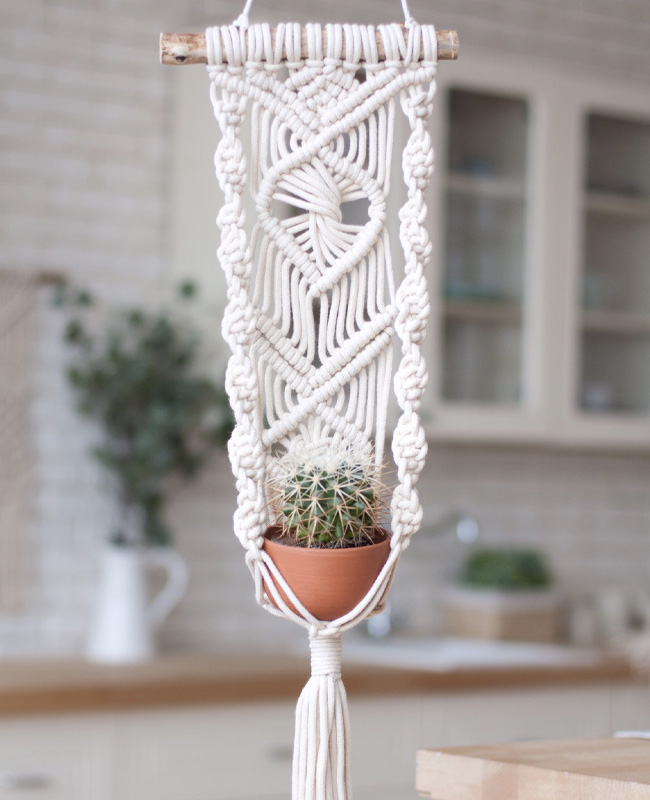 etsy happy flowers ceramics suspension plante macramé mural