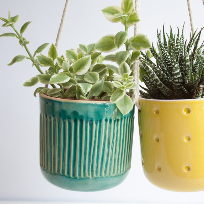 etsy happy flowers ceramics suspension plante mini