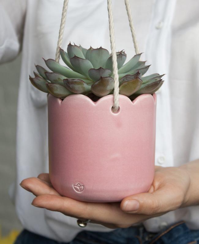 etsy happy flowers ceramics suspension plante rose