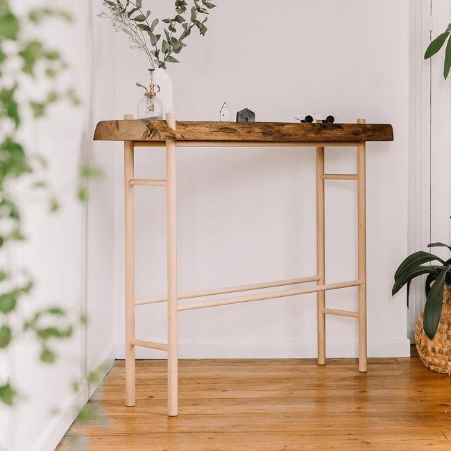 etsy gllu meuble console chêne pied hêtre naturel
