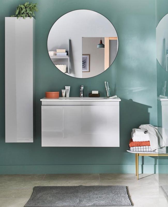 deco salle de bain minimaliste blanc vert d'eau