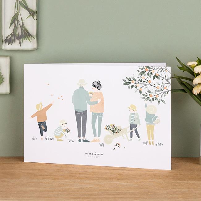 faire part naissance rosemood famille illustration