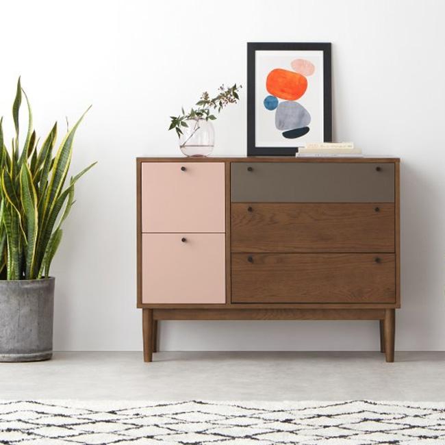 meuble rose chambre enfant commode bois gris