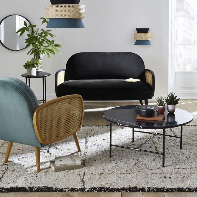 table basse marbre noir ronde