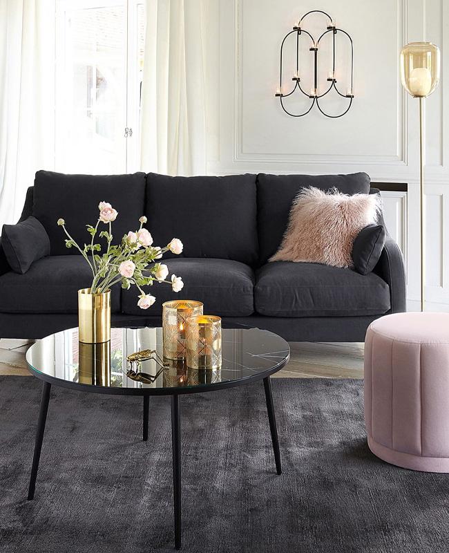 table basse marbre noir ronde imitation