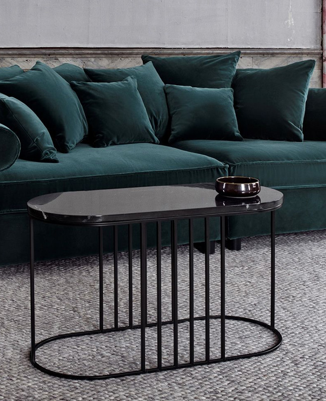 table basse marbre noir ovale bolia