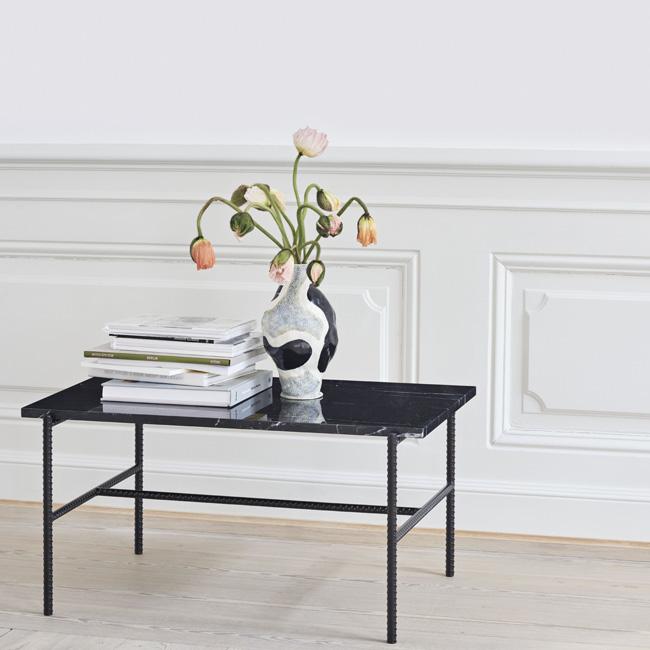table basse marbre noir rectangulaire hay