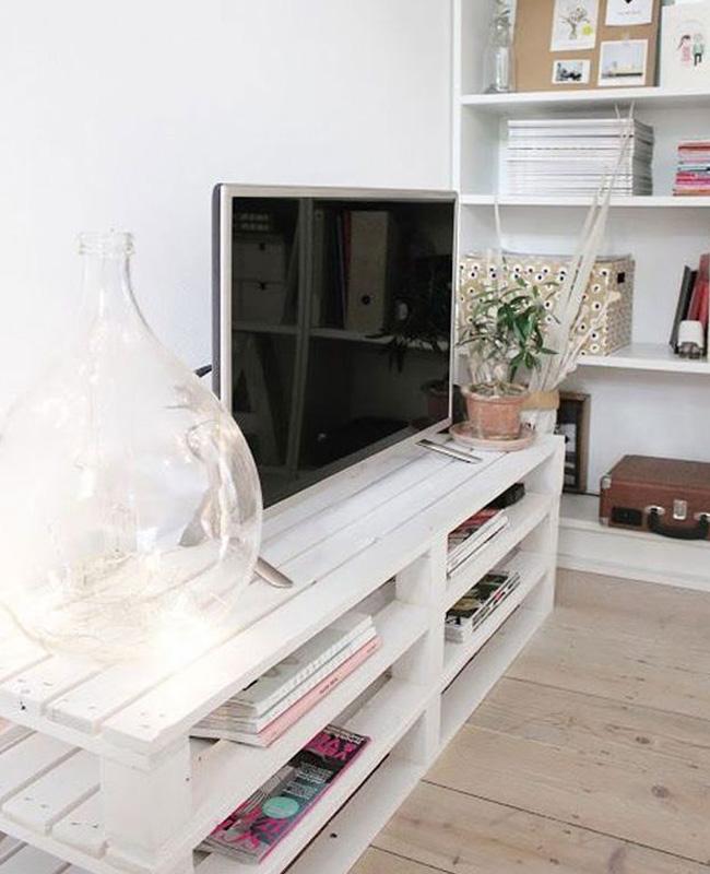 meuble tv palette diy blanc