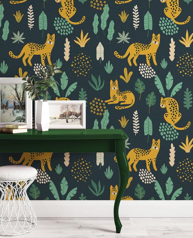 papier peint enfant urban jungle léopard