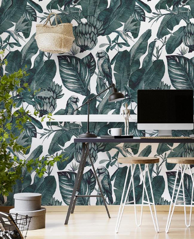 papier peint enfant urban jungle palmier perroquet