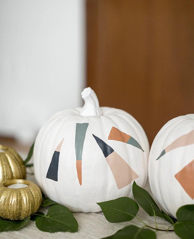 citrouille peinture halloween diy blanc moderne