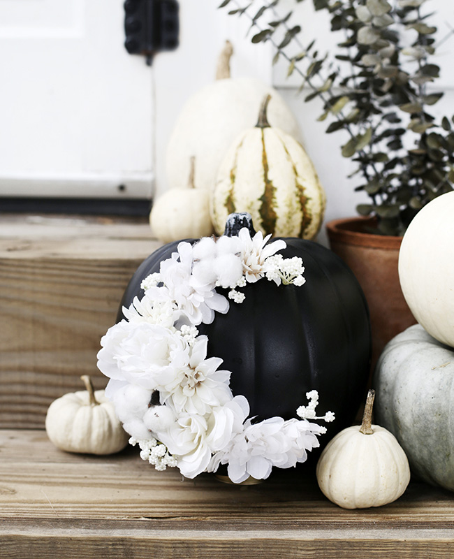 citrouille peinture halloween diy noir fleur