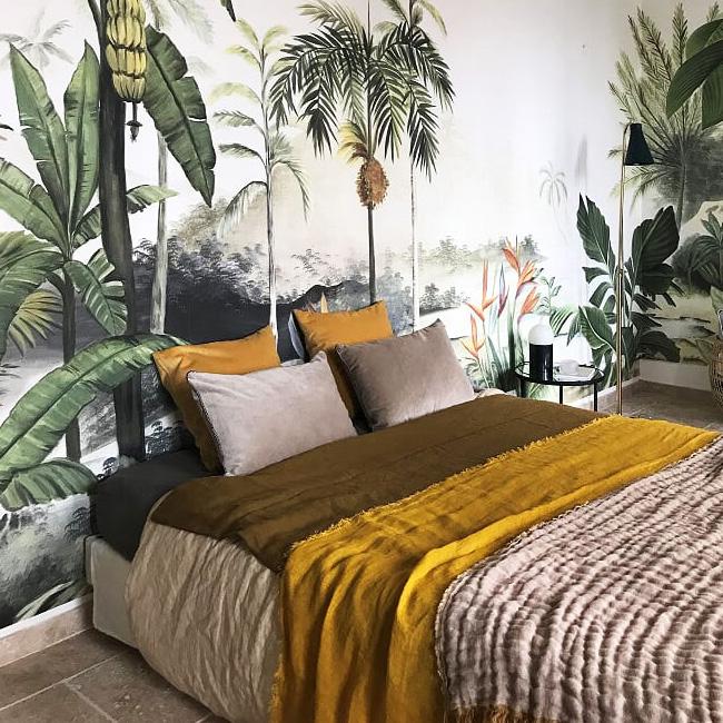 deco chambre urban jungle vert jaune moutarde