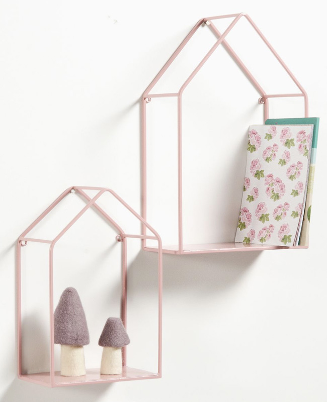étagère murale enfant maison métal rose