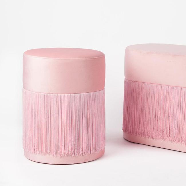 pouf frange déco velours rose