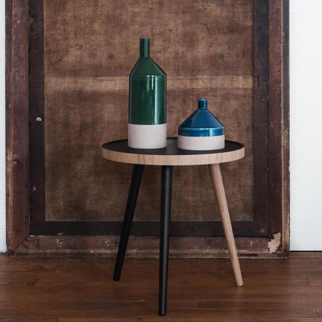 table basse pas chère moins de 100 euros noir bois ronde