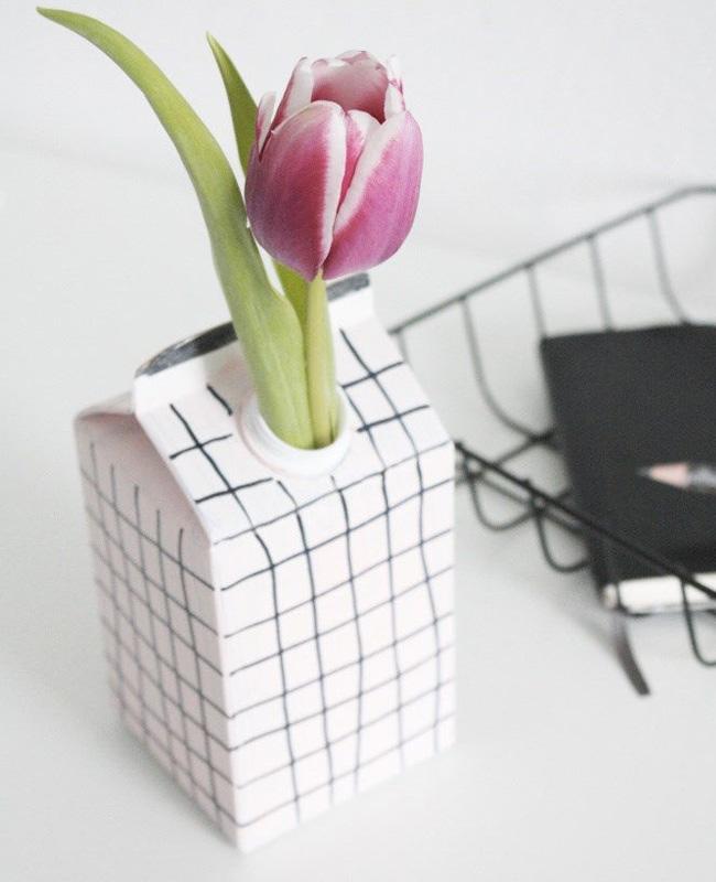 vase carton diy brique de lait