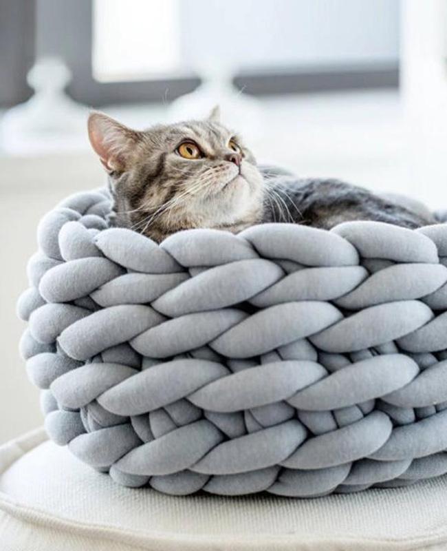 cadeau noel chat etsy panier tricot géant