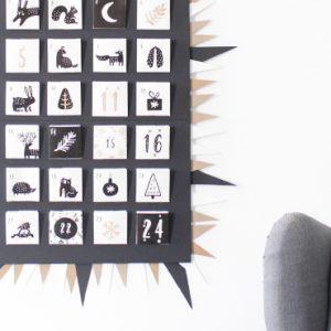 calendrier avent a imprimer diy noir et blanc