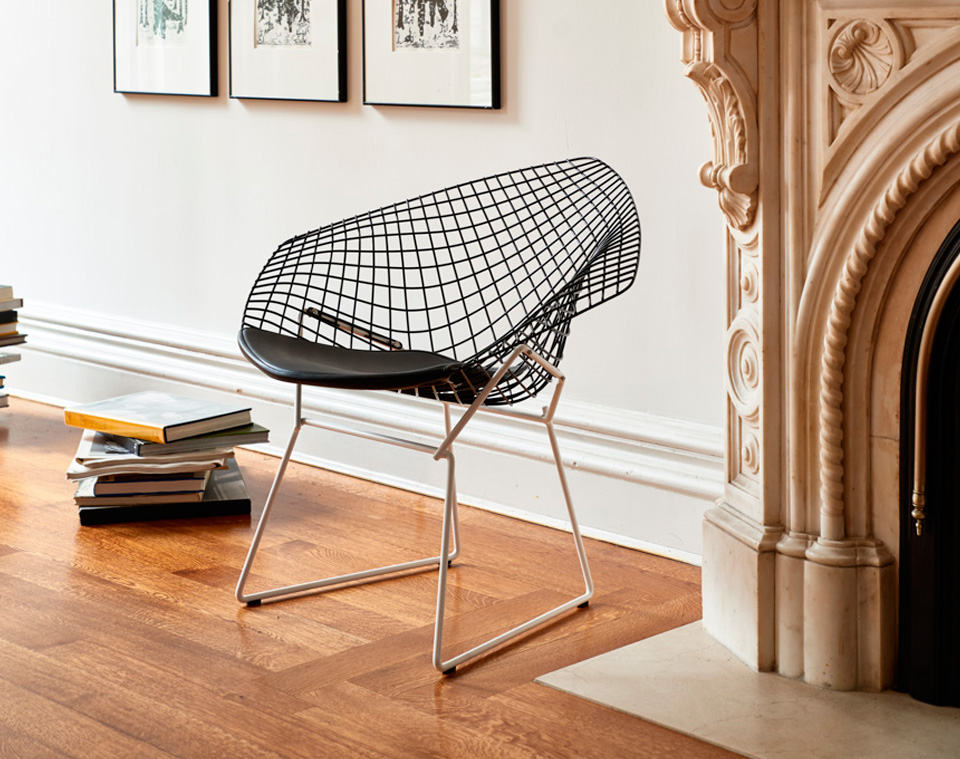 chaise diamond chair bertoia noir