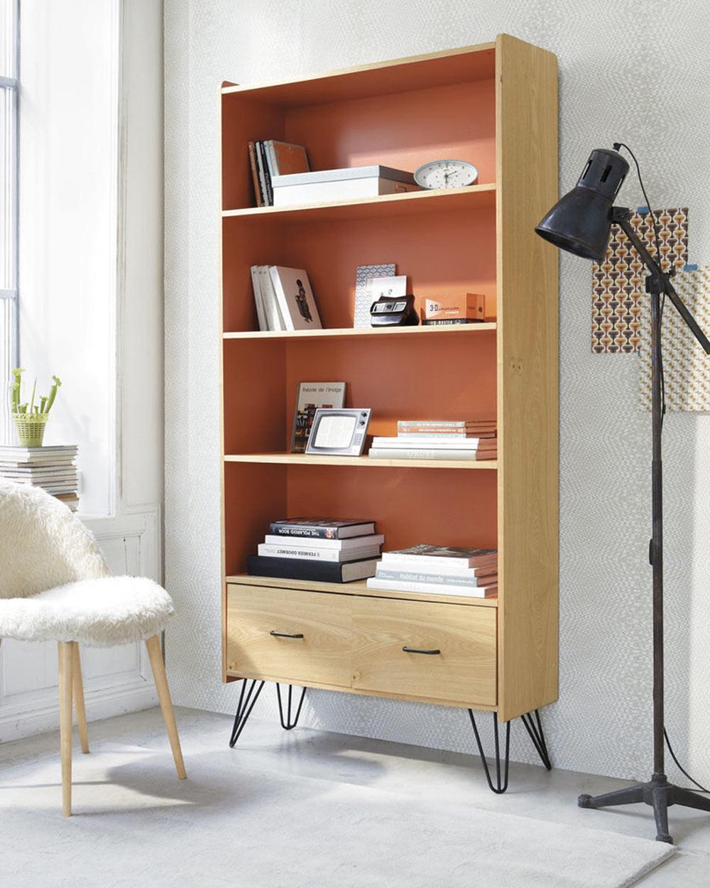 deco orange bibliotheque