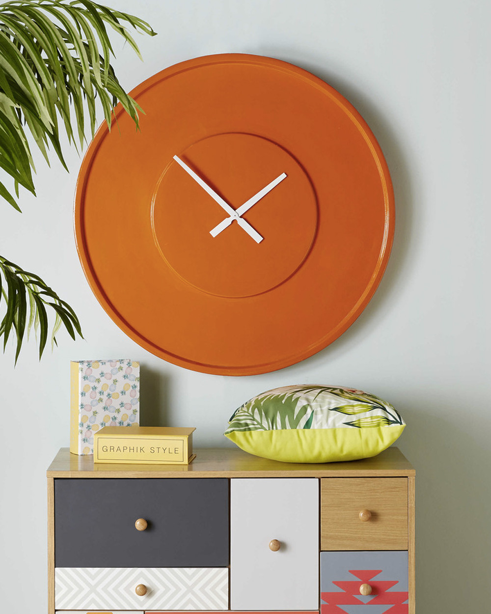 deco orange horloge