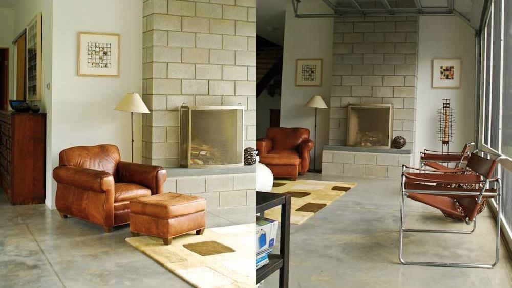 salon avec fauteuil cuir dans maison campagne