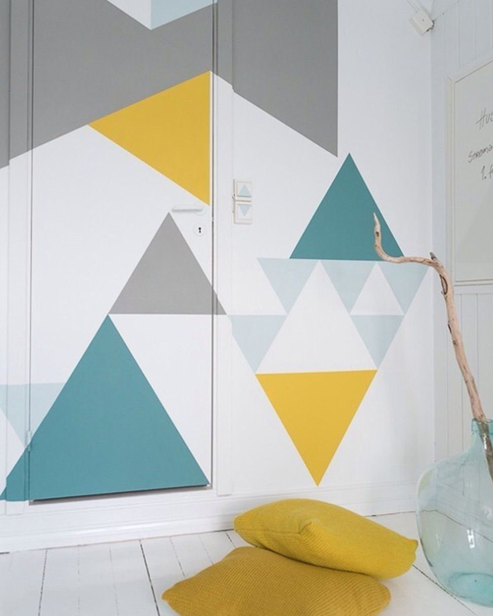 mur graphique géométrique diy peinture