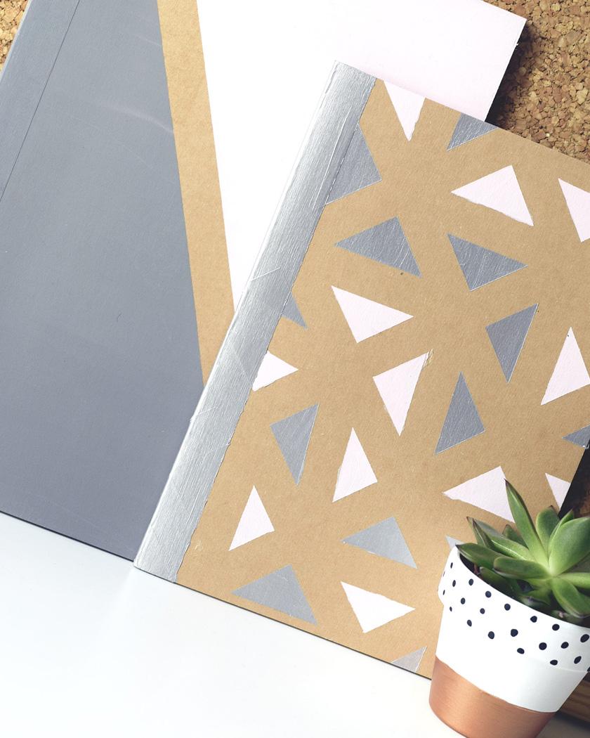 carnet personnalisé diy géométrique peinture