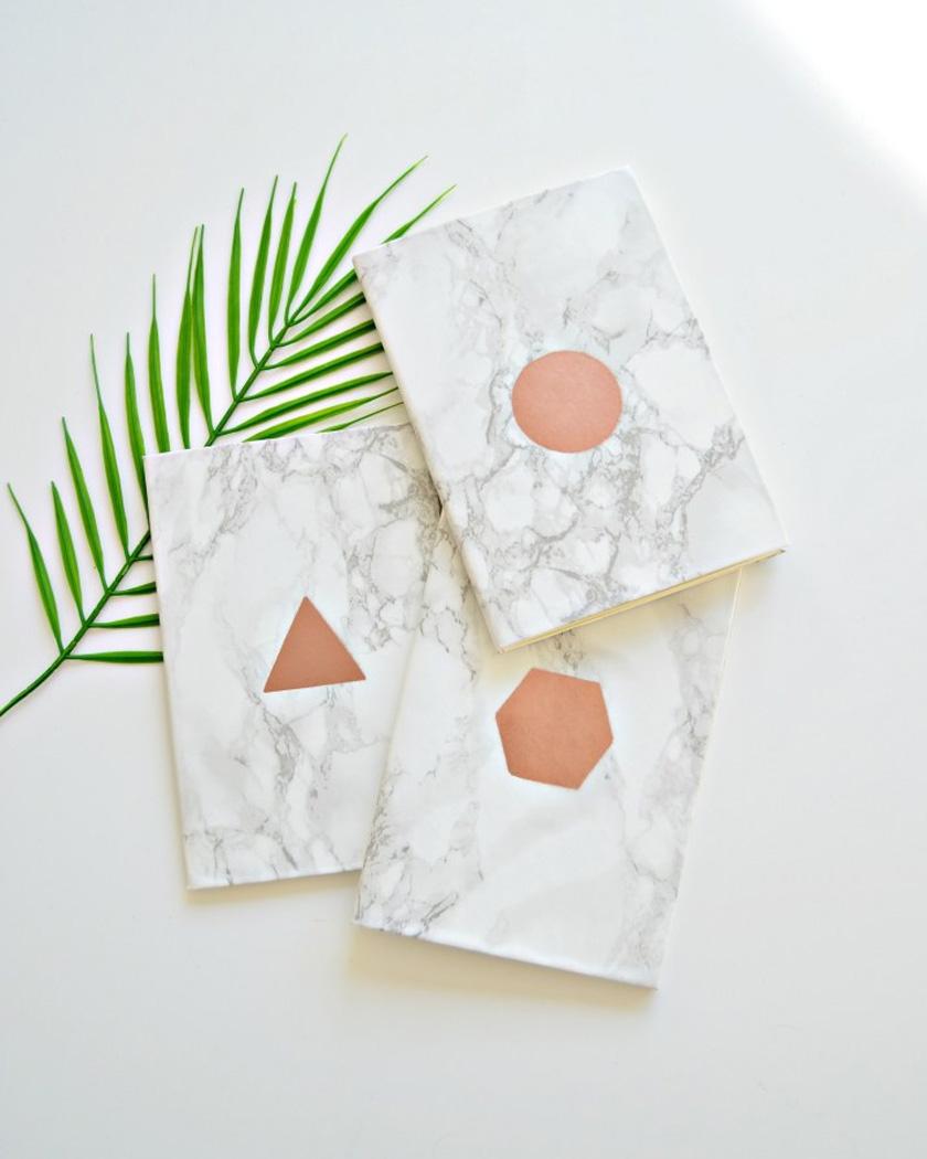carnet personnalisé diy géométrique marbre cuivre