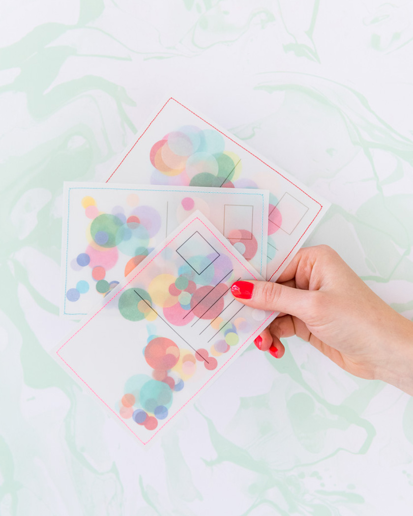 invitation confettis diy carte postale