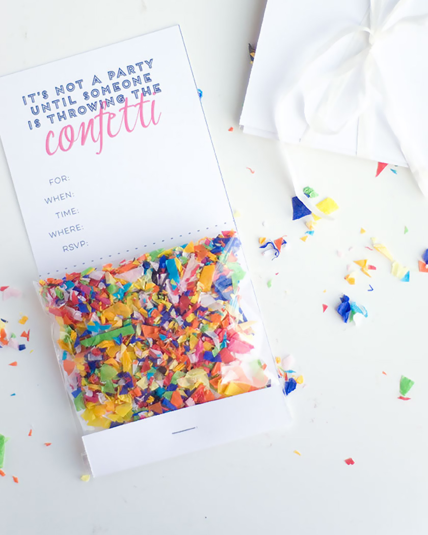 invitation confettis diy sachet