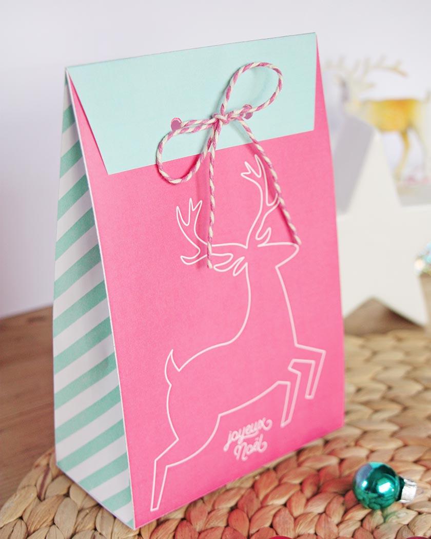 pochette cadeau noel a imprimer diy rose renne