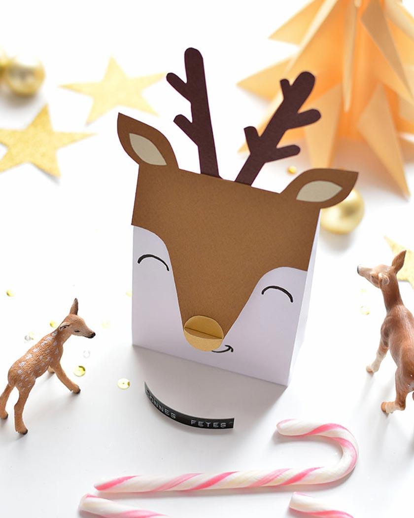 pochette cadeau noel a imprimer diy renne