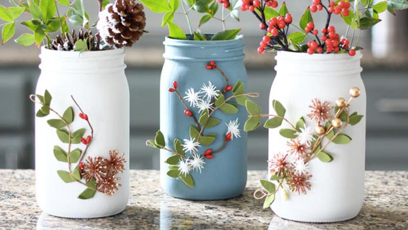 vase bocal peint diy