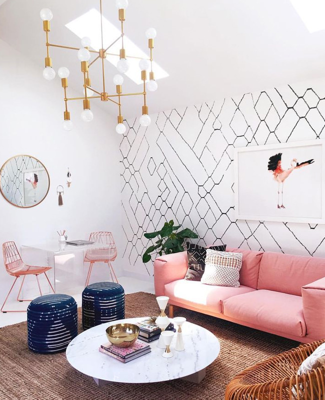 associer rose blanc deco salon