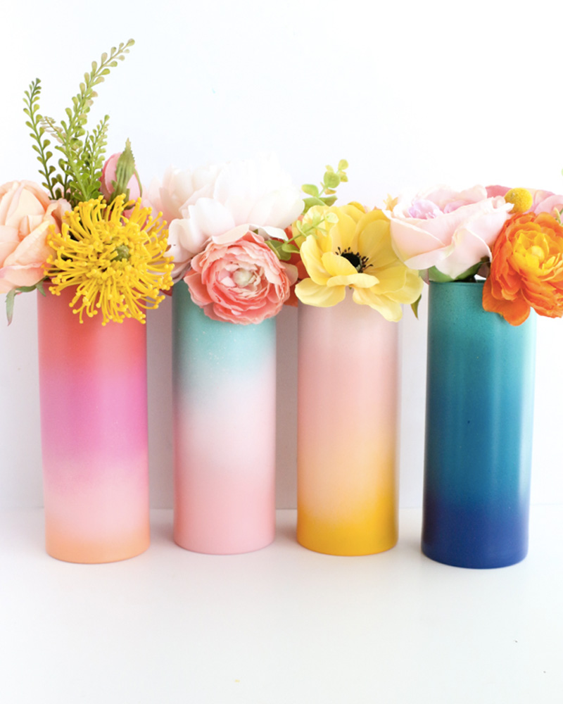 vase peint degrade diy