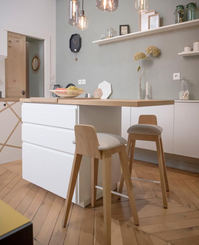 deco cuisine moderne gris bois