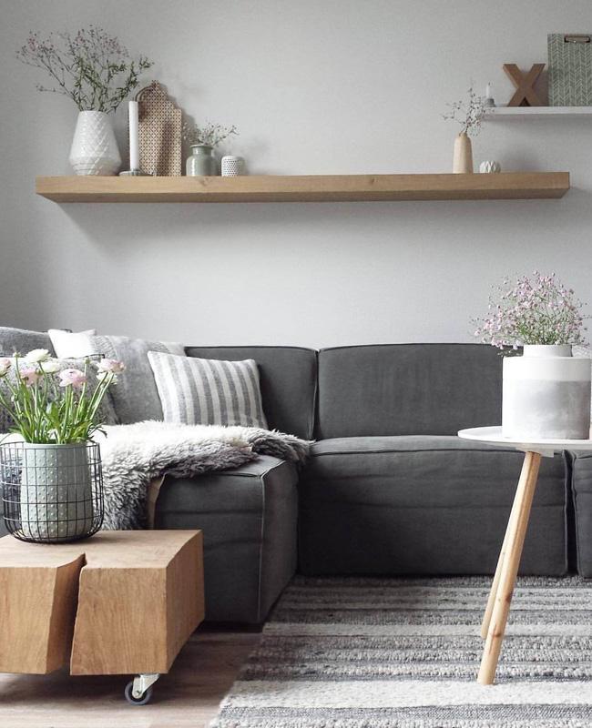 deco salon moderne gris bois