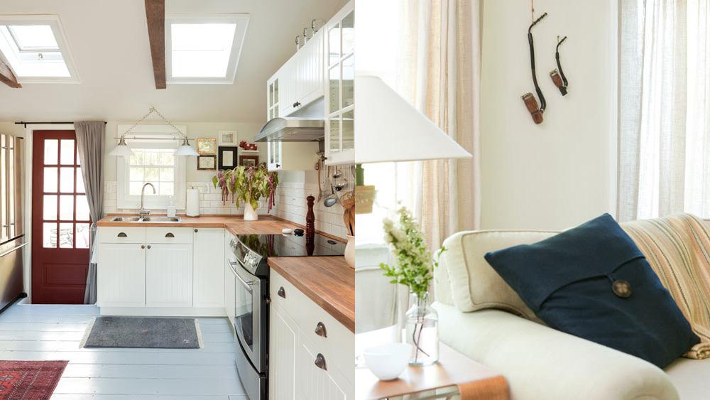 cuisine blanche et bois dans maison campagne