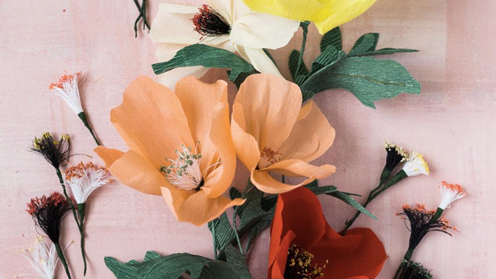 fleur papier crépon diy