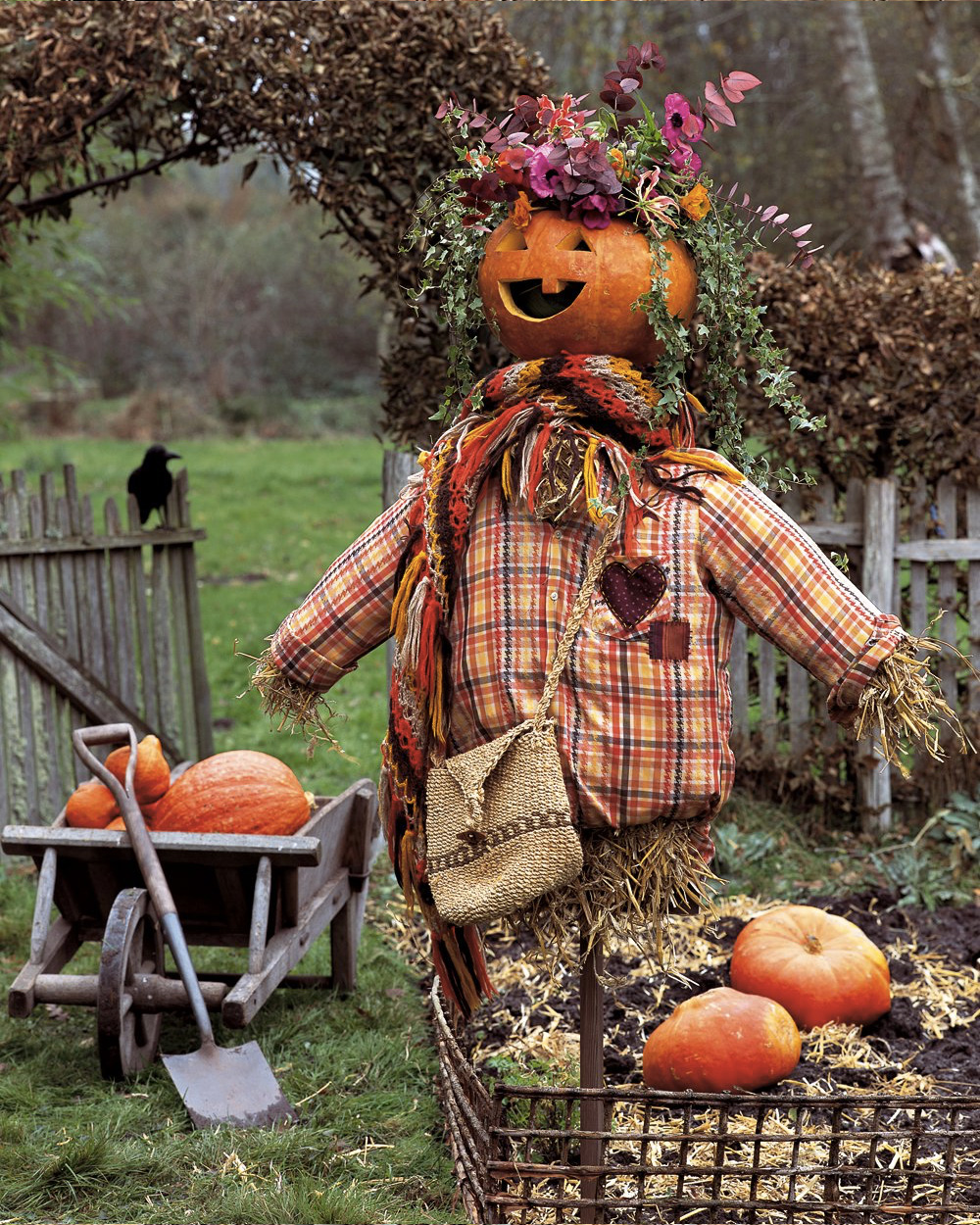 deco jardin halloween épouvantail