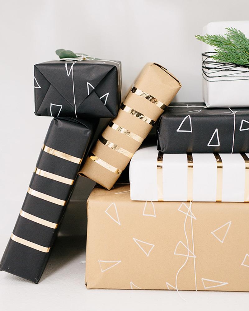paquet cadeau rayures diy noel