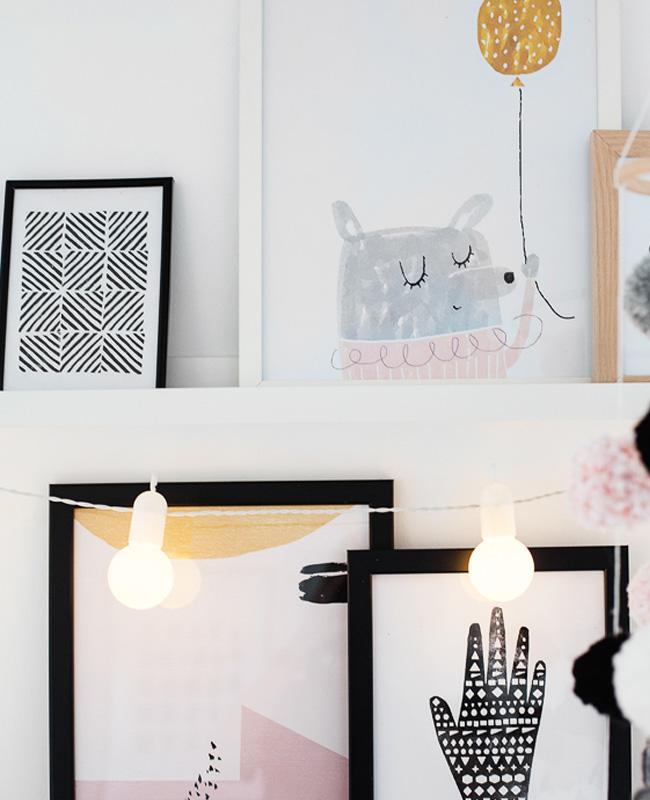 deco chambre bébé rose moderne mur cadres