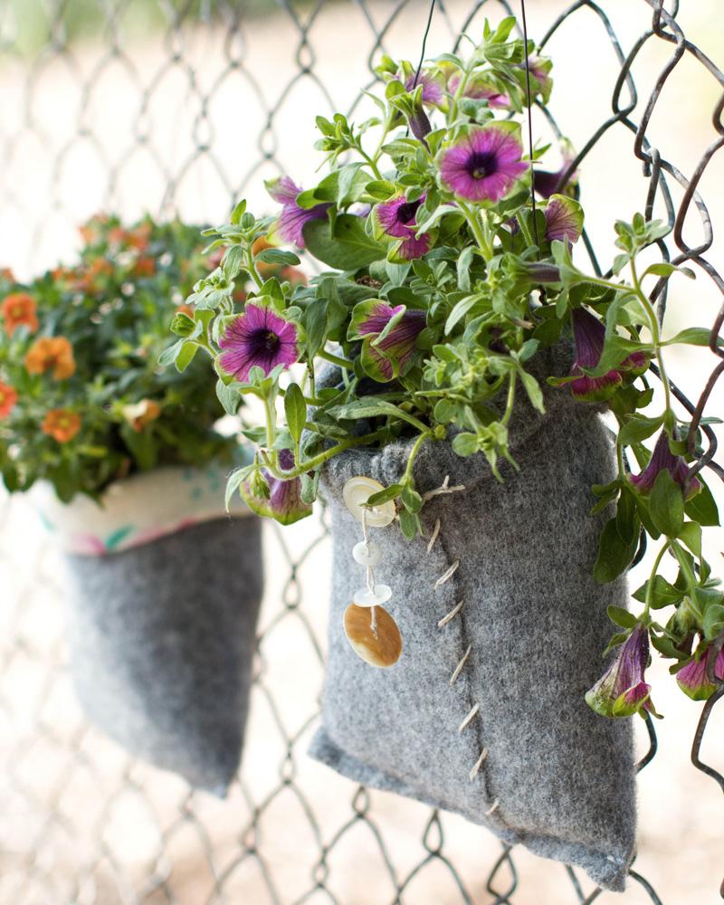 sac laine pot plante diy