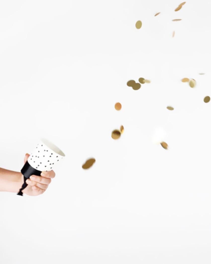 canon confettis diy gobelet carton noir et blanc
