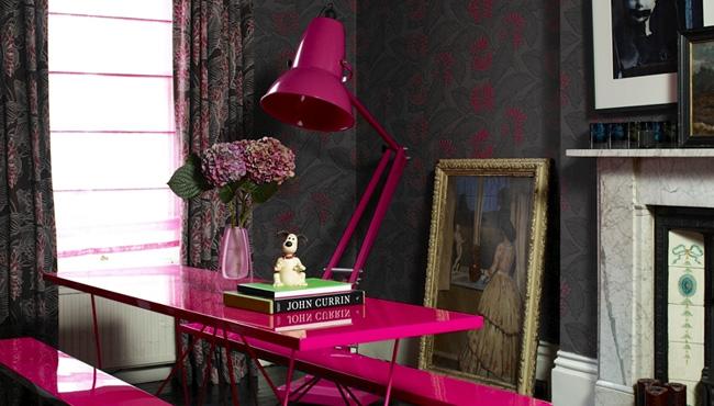 deco séjour salle à manger rose fluo