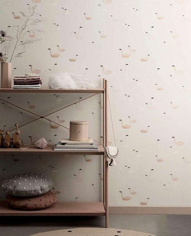 papier peint ferm living cygnes rose
