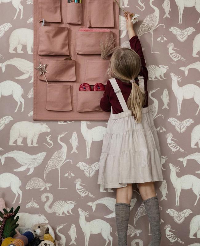 papier peint ferm living animal vieux rose