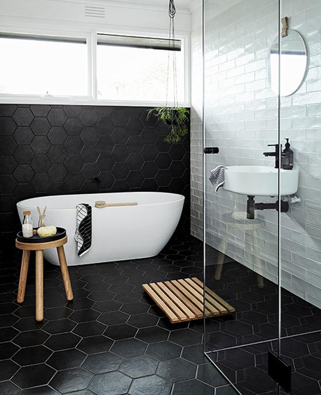 déco salle de bain scandinave noir sol